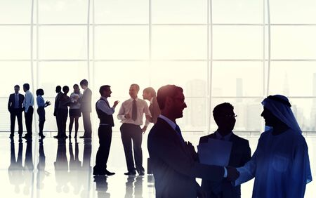 connection people: Business People Meeting Room Handshake Global Communication Concept