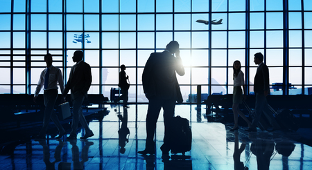 back in an hour: Back Lit Business People Traveling Airport Passenger Concept