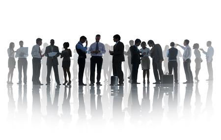 Silhouette Geschäftsleute Nehmens Verbindung Gespräch Meeting-Konzept