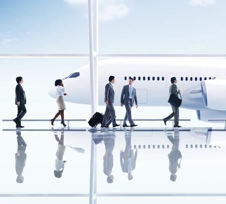 Airport Travel Zaken Mensen Trip Vervoer Vliegtuig Concept