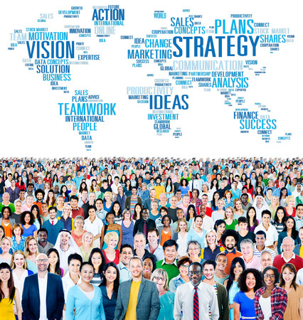 large crowd: Strategy Action Vision Ideas Analysis Finance Success Concept