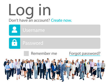 security protection: Business People Account LogIn Security Protection Concept