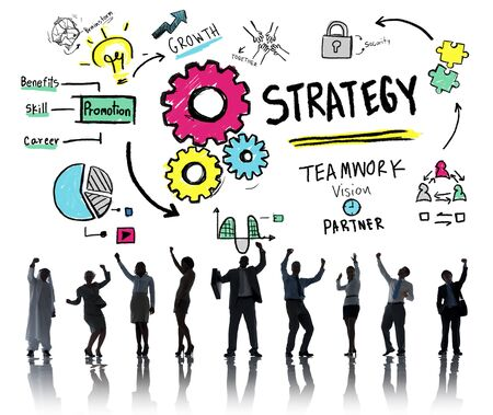 team vision: Strategy Solution Tactics Teamwork Growth Vision Concept