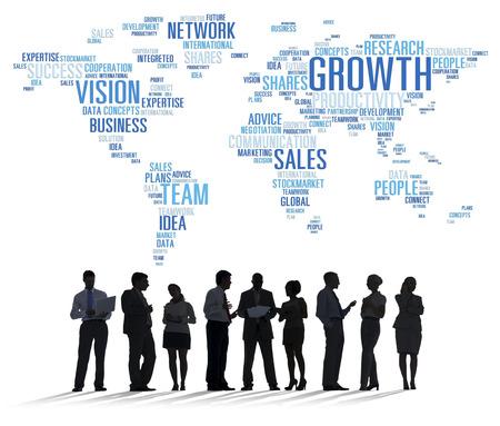 Globaal van de het Succesgroei van het Bedrijfsmensen Collectief de Vergadering Concept Stockfoto