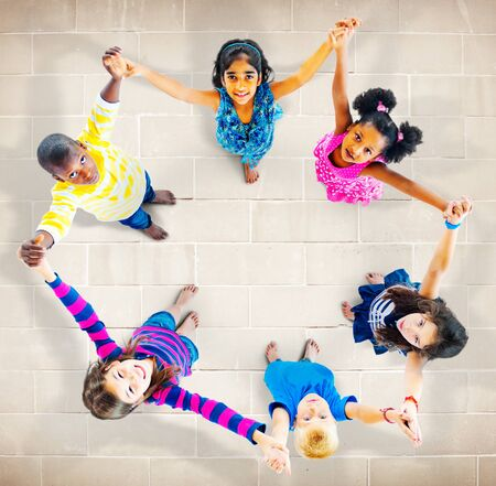 unity: Children Kids Cheerful Unity Diversity Concept
