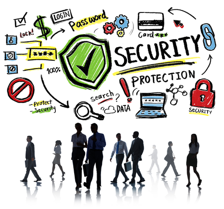 security protection: Business Office Worker Security Protection Information Concept Stock Photo