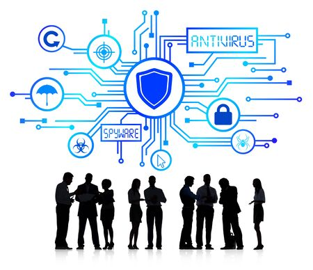 network concept: Silhouette Group of Business People with Network Security Concept