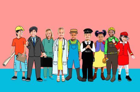 flight crew: Children Kids Dream Jobs Diversity Occupations Concept Stock Photo