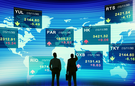 stock market graph: Business People Discussion Stock Market Concept Stock Photo