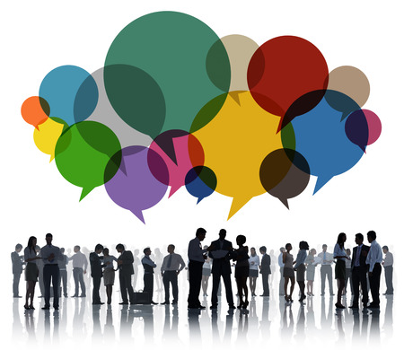 large group of people: Business People Message Talking Communication Concept Stock Photo