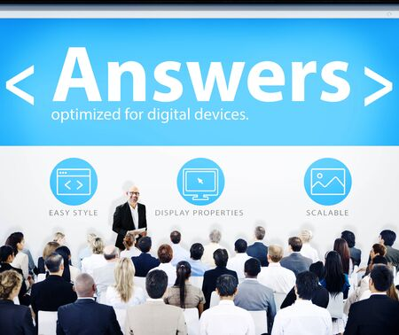 answers concept: Business People Presentation Seminar Answers Concept