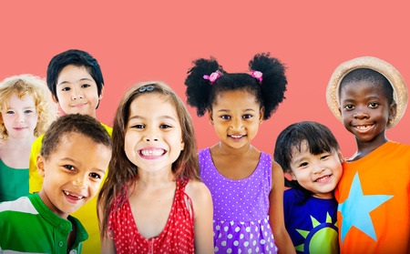 happy girls: Diversity Children Friendship Innocence Smiling Concept Stock Photo