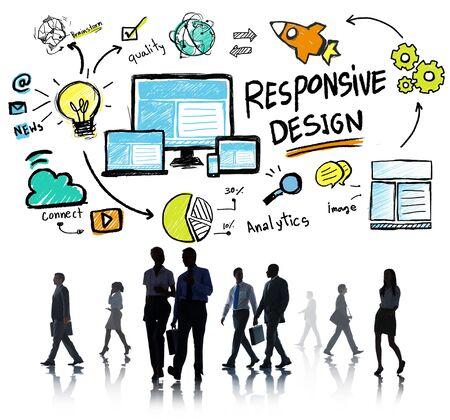Responsive Design Internet Web Business People Commuter Concept Stok Fotoğraf