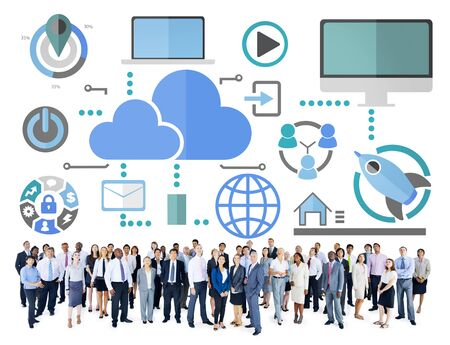 cloud network: Big Data Sharing Online Global Communication Cloud Concept Stock Photo