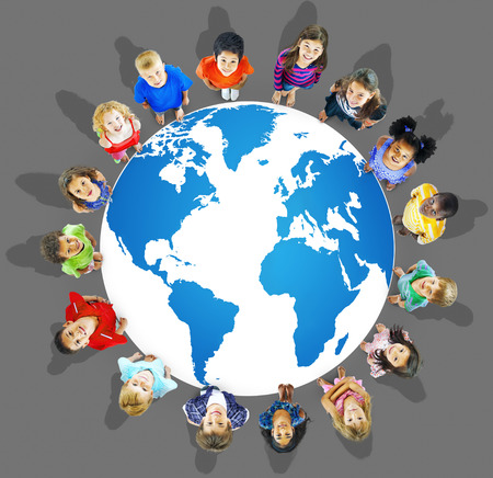 globalization: Global Globalization World Map Environmental Concservation Concept Stock Photo