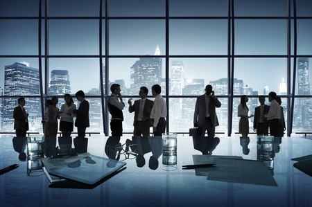 ビジネス人々 の議論通信都市景観会議コンセプト 写真素材