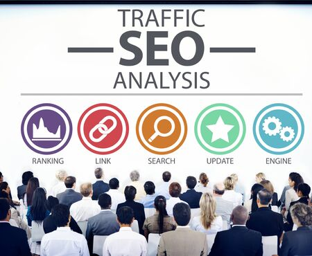 search info: Search Engine Optimisation Analysis Information Data Concept Stock Photo