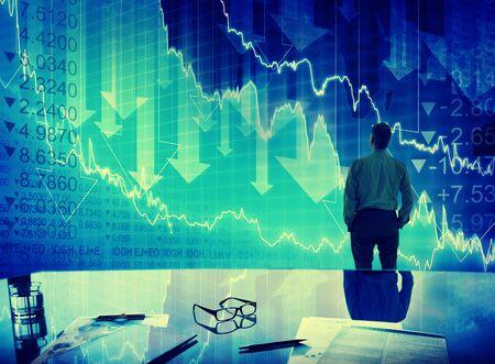 実業家株式市場危機クラッシュ金融概念