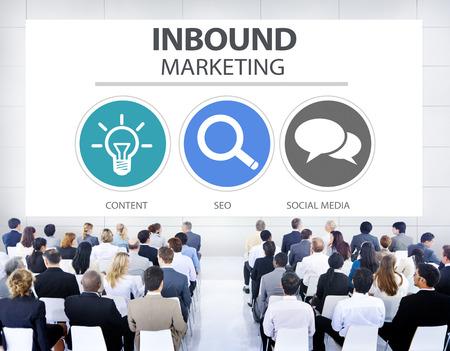 Binnenkomend Marketing Commercieel Inhoud Sociaal Media Concept