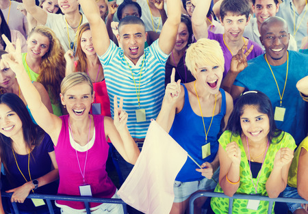concert: People Smiling Happiness Celebration Concert Event Excitement Concept