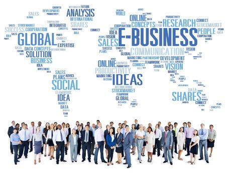online world: E-Business Global Business Commerce Online World Concept