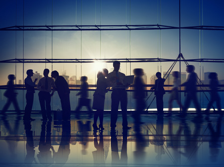 corporate meeting: Business People Communication Corporate Colleagues Professional Office Concept Stock Photo