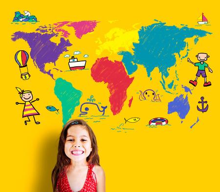 one girl only: World Kids Journey Adventure Imagination Travel Concept