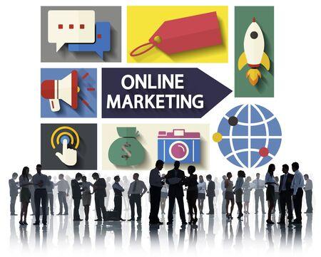 online marketing: Online Marketing Branding Global Communication Analysing Concept