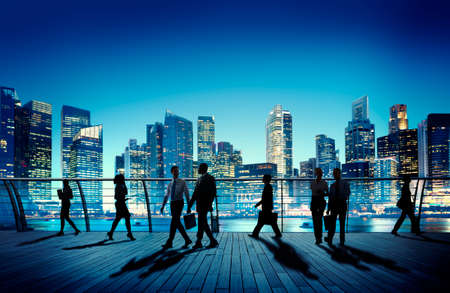 corporate building: Business People Colleagues Interaction Communication Night City Concept