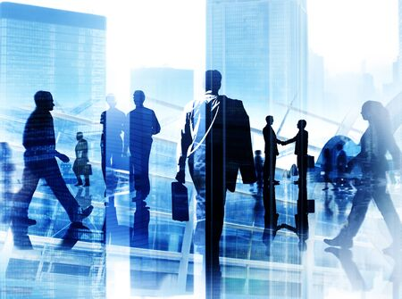 people standing: Business People Corporate Commuter Rush Hour City Concept