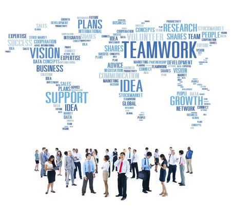 trabajando en equipo: Negocio Global de Personas Unión Soporte Trabajo en equipo Concepto