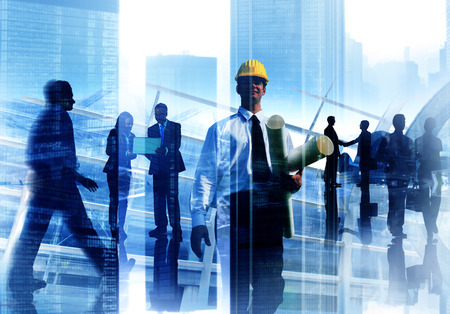 manual work: Engineer Architect Professional Occupation Corporate CIty Work Concept Stock Photo