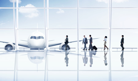 airport business: Airport Travel Business People Trip Transportation Airplane Concept
