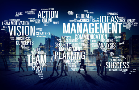 people management: Global Management Training Vision World Map Concept Stock Photo
