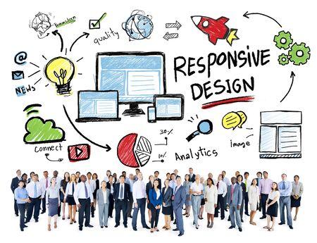 personas mirando: Responsive Web Design Gente de negocios que mira para arriba Concept Foto de archivo