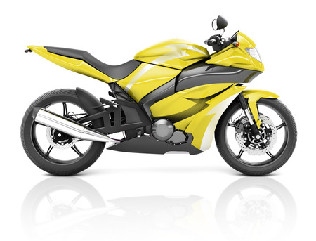 means of transport: 3D Image of a Yellow Modern Motorbike Stock Photo