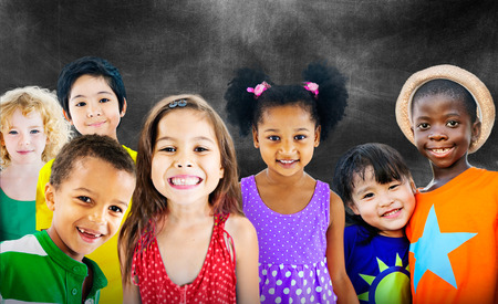 youth: Diversity Children Friendship Innocence Smiling Concept Stock Photo