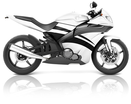 bike riding: Motorcycle Motorbike Bike Riding Rider Contemporary White Concept Stock Photo