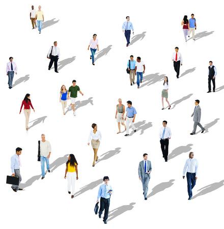 caminando: Diversidad étnica diversa Etnia Unión Variación concepto de multitud Foto de archivo
