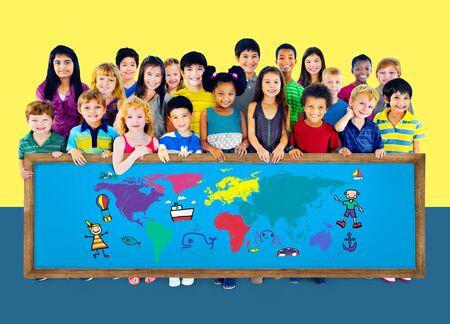 student travel: World Kids Journey Adventure Imagination Travel Concept
