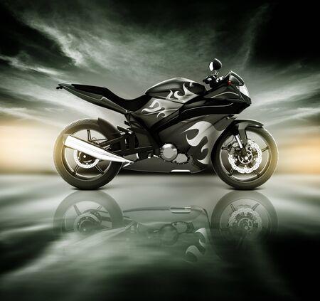 bike riding: Motorcycle Motorbike Bike Riding Rider Contemporary Black Concept