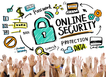 secret society: Online Security Protection Internet Safety People Volunteer Concept Stock Photo