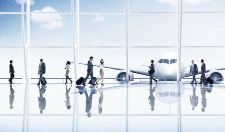 Aeropuerto de viajes de negocios Gente de viaje Transporte Avión Concepto Foto de archivo - 41189533