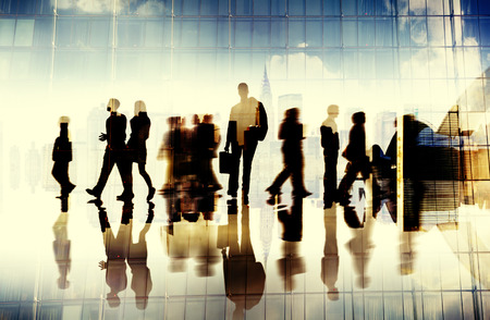 business people walking: Silhouette Business People Traveling Cityscape Commuter Concept