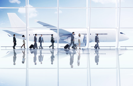 Aeropuerto de viajes de negocios Gente de viaje Transporte Avión Concepto Foto de archivo - 41187830