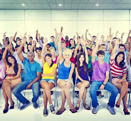 volunteers: Group People Crowd Cooperation Suggestion Casual Multicolored Concept