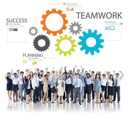teamwork together: Teamwork Team Group Gear Partnership Cooperation Concept