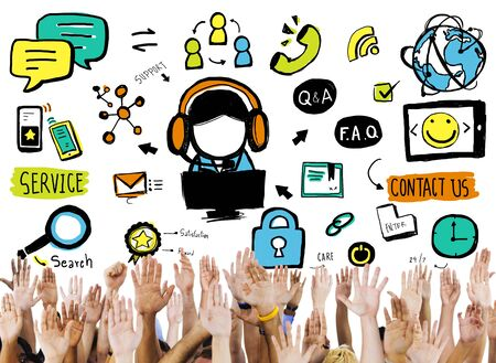 reach customers: Customer Service Help Business Service Solution Support Concept