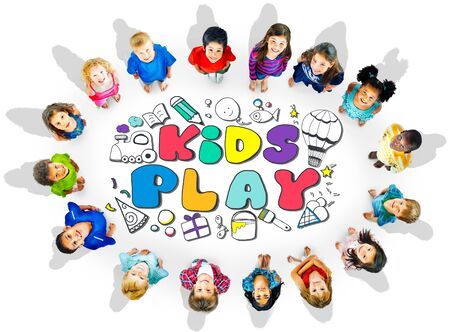elementary age: Kids Play Imagination Hobbies Leisure Games Concept Stock Photo