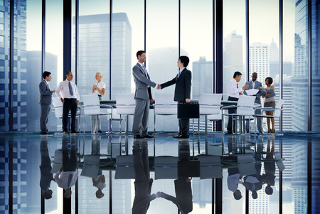 Business People Board Room Meeting Handshake Communication Concept Imagens